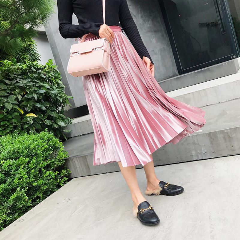 于momo2017秋季新款时尚中长裙丝绒半身裙金属色百褶裙高腰a字裙