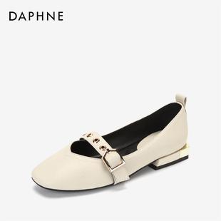 达芙妮玛丽珍鞋女春秋新款复古学院扣芭蕾方头奶奶鞋玛平底鞋