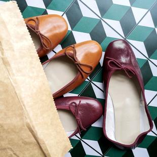 意大利手工复古浅口圆头蝴蝶结芭蕾舞鞋平底鞋酒红单鞋 烟草棕