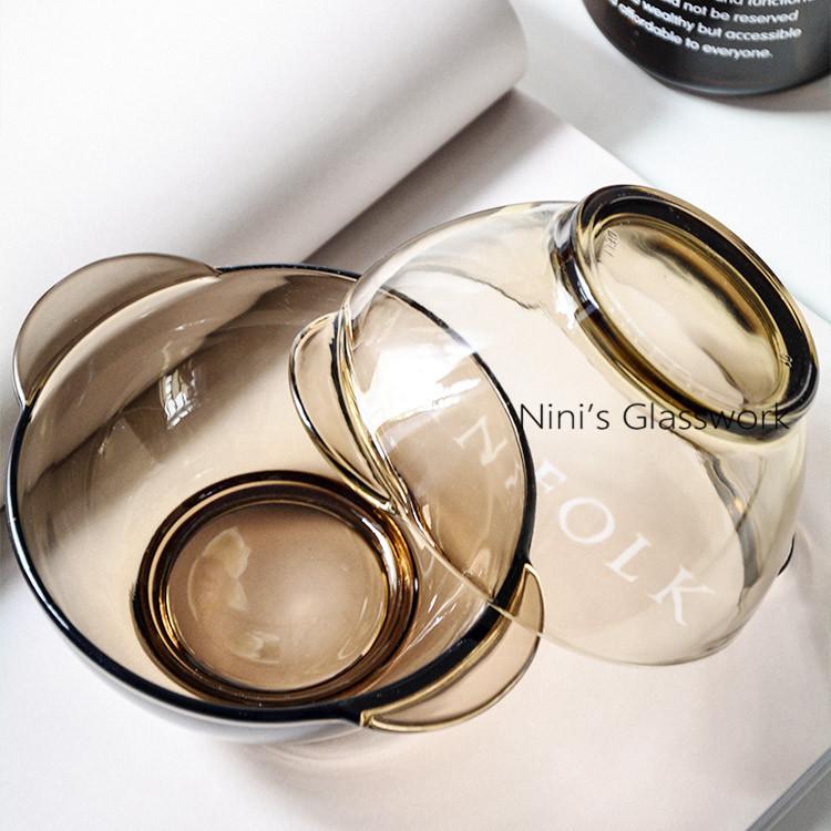 【天天特价】 北欧茶色玻璃碗米饭碗双耳沙拉盘8英寸盘沙拉碗面碗