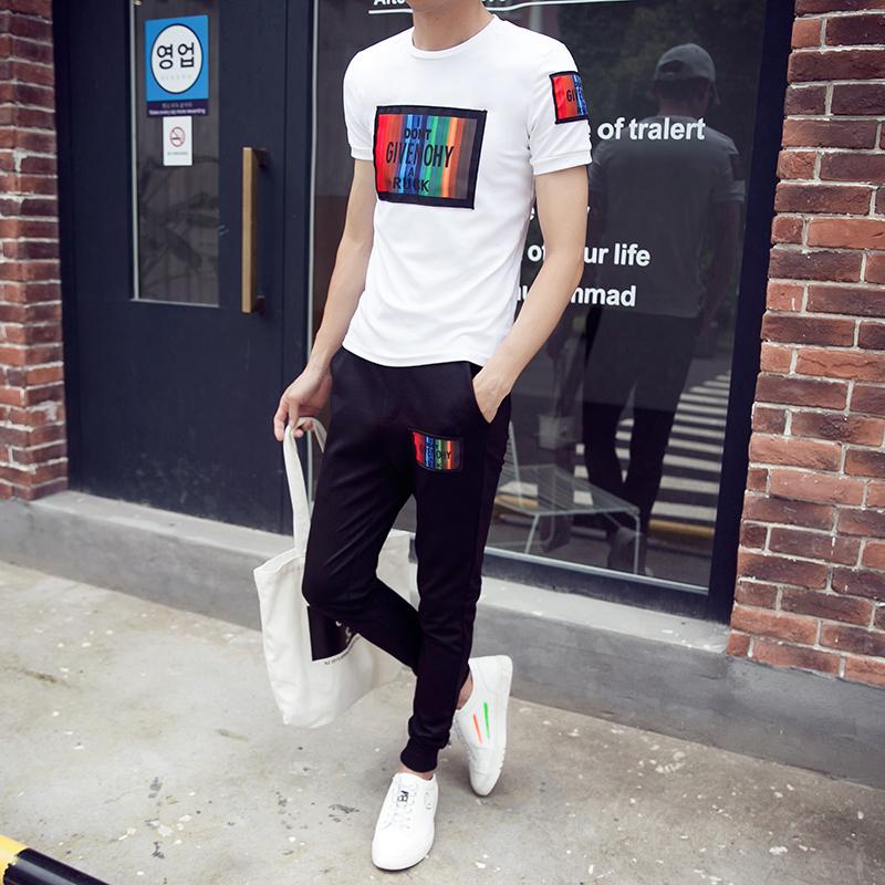 男士套装夏季2019新款潮流韩版时尚短袖男休闲夏天帅气运动两件套