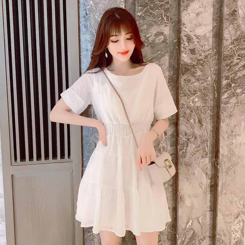 夏季雪纺连衣裙女2020年新款小个子收腰显瘦法式裙子仙女超仙森系