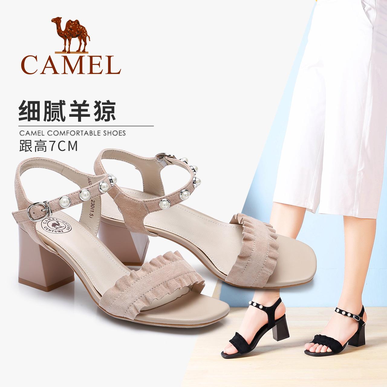 骆驼女鞋2018夏季新款 一字扣高跟鞋粗跟凉鞋 英伦风性感舒适优雅