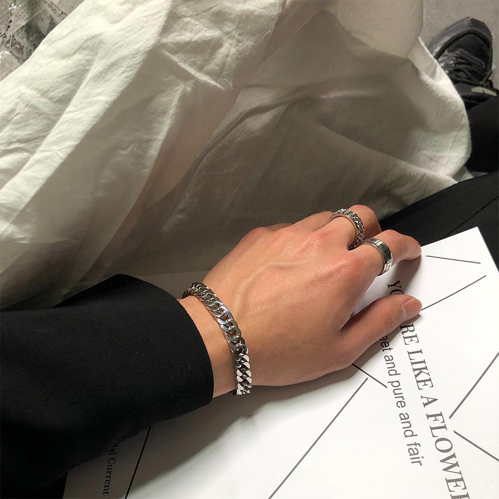 SAZ 2019新款ins网红简约冷淡风情侣饰品纯色链条钛钢宽手链男女