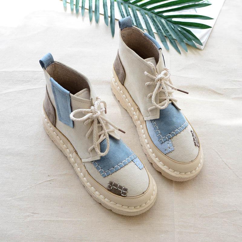 短靴女秋冬森系短筒平底舒适软底靴子百搭文艺范拼色系带手工靴