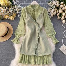 女神范套装chic风超仙甜美蕾丝打底裙修身吊带连衣裙女秋冬两件套