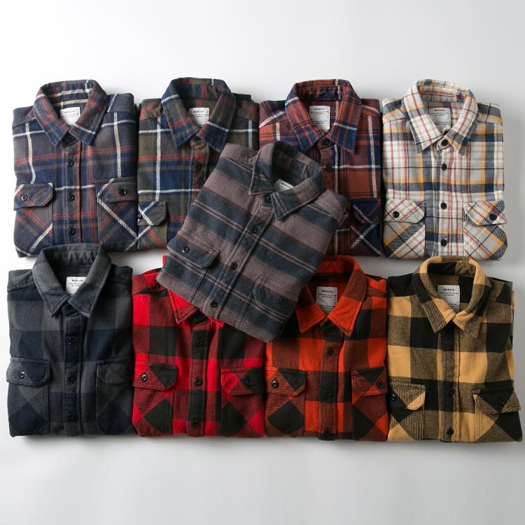 vintage古着美式复古工装外套加厚休闲法兰绒磨毛长袖格子衬衫男