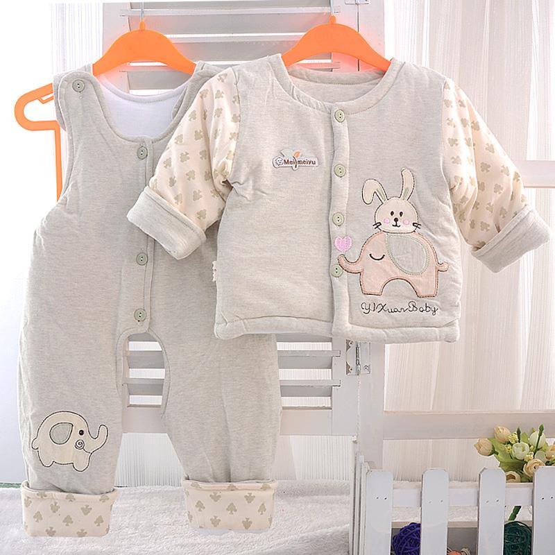 春秋款男女宝宝纯棉套装 婴幼儿童薄款加棉两件套0-2岁童棉袄棉裤