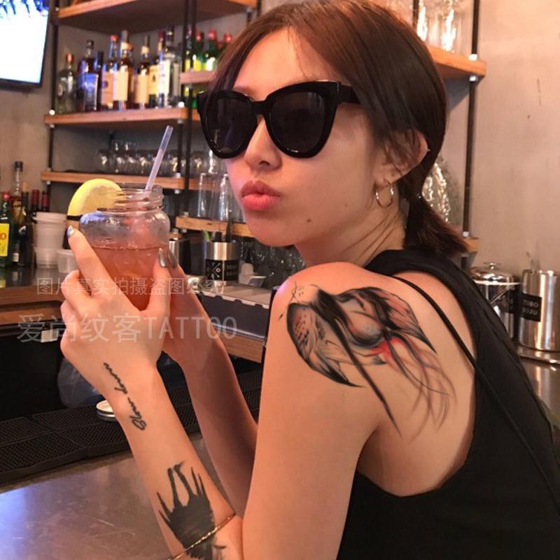 爱尚纹客彩色燕子纹身贴防水持久男女胸前后背性感刺青贴纸包邮