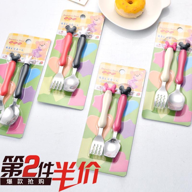 创意卡通米奇造型婴儿童餐具套装小孩吃饭勺子可爱宝宝吃面条叉子
