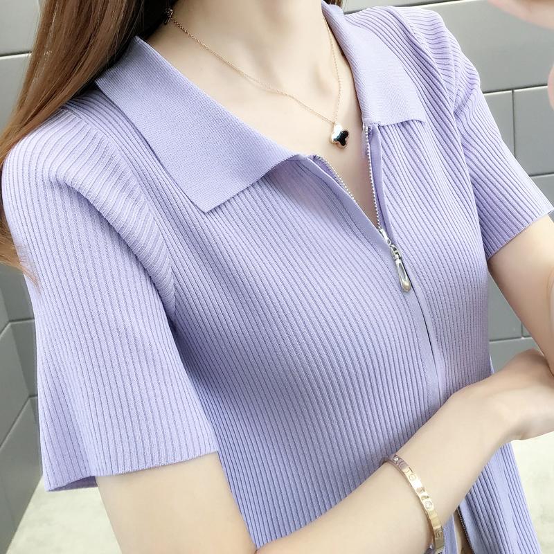 冰丝短袖T恤女夏装2020新款拉链开衫体恤短款针织衫网红上衣外穿