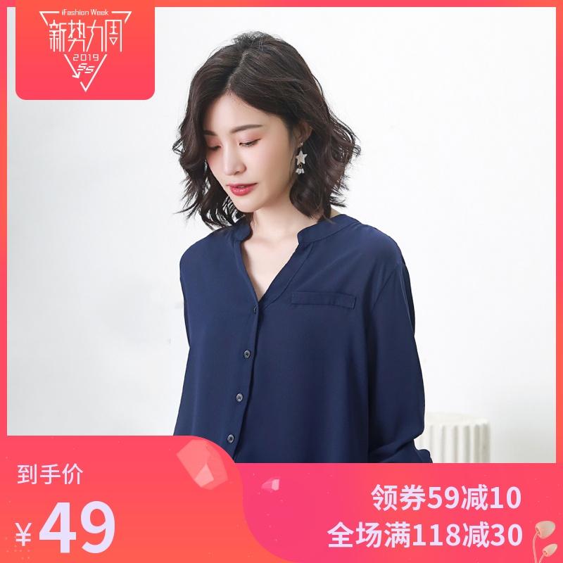 V领雪纺衬衫女韩版长袖白衬衣女士2019春装新款百搭休闲锁骨上衣