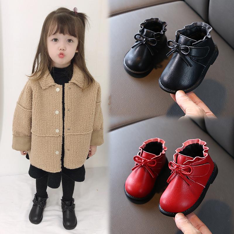 [¥56.9]秋冬季女宝宝棉鞋1-2-3岁0婴儿软底学步皮鞋子加绒小童公主短靴子