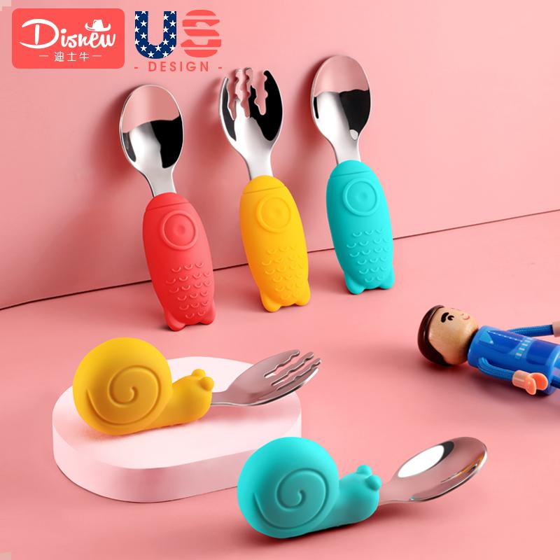 宝宝勺子学吃饭不锈钢婴幼儿童辅食训练勺叉勺子叉子套装儿童餐具