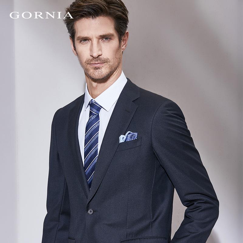 GORNIA/格罗尼雅男士套西上装羊毛商务休闲黑色西服上衣男外