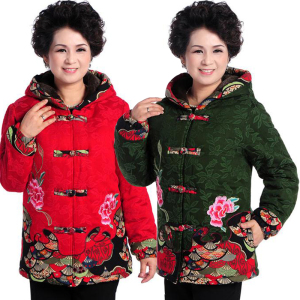 Middle-aged and elderly women's cotton coat winter plus velvet thickening mother's cotton jacket elderly grandmother Tang warm cotton clothing