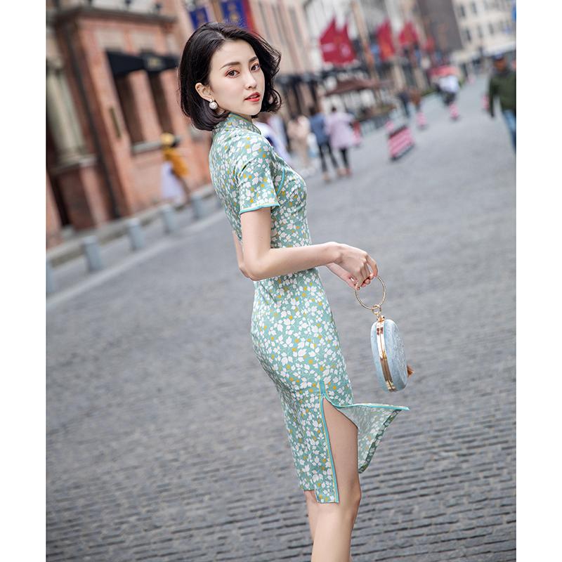 复古 香风 旗袍 改良 新式 中国 日常 学生 清新 年轻 少女 连衣裙