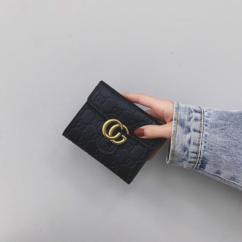 2020新款小钱包女短款ins潮韩版简约搭扣多卡位三折叠卡包零钱包