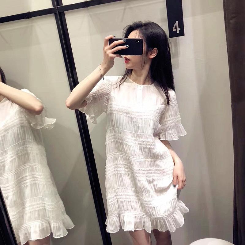 港风雪纺连衣裙短款小个子仙女超仙森系2019夏季裙子收腰显瘦气质
