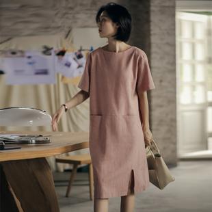 无谓韩式文艺2020夏新款女装中长款开叉宽松显瘦麻料直筒连衣裙女图片
