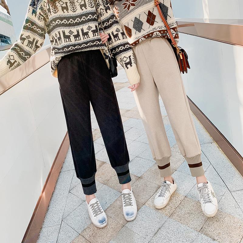 针织萝卜裤女春秋高腰网红奶奶裤束脚针织加厚裤子直筒阔腿哈伦裤