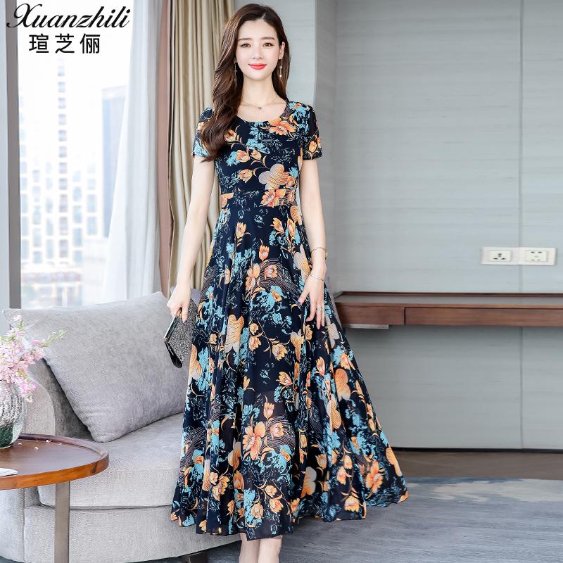 裙子女2019新款夏季女装连衣裙高端气质显瘦碎花雪纺长裙长款夏天