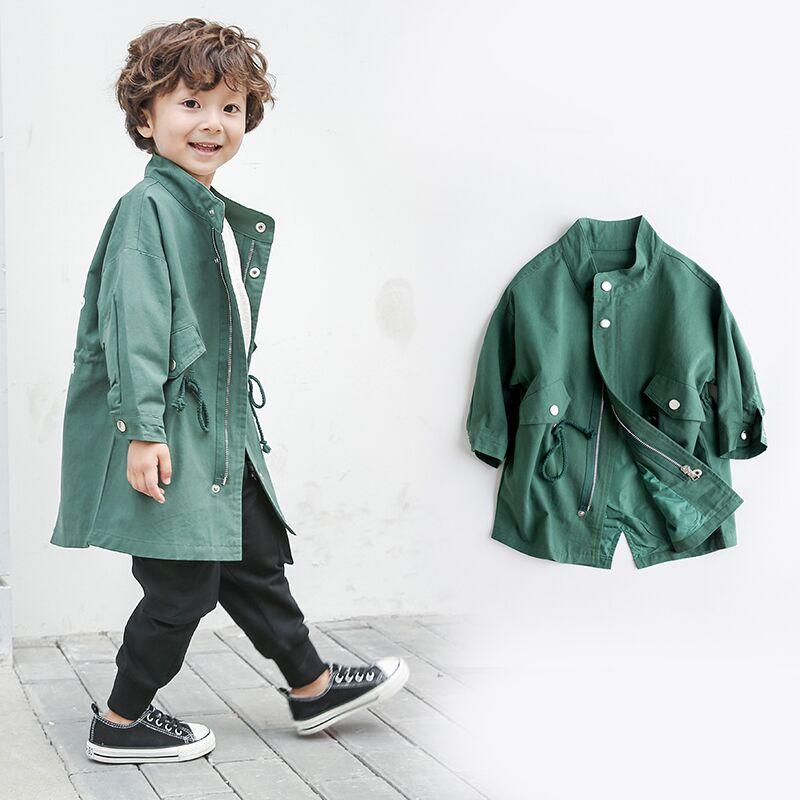儿童小风衣中长款男童秋装外套薄款2018新款英伦韩版洋气宝宝上衣