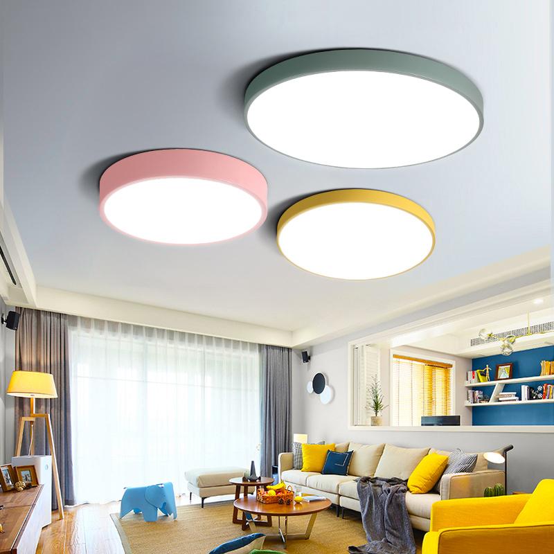 现代简约北欧灯具LED吸顶灯客厅卧室书房圆形马卡龙创意儿童房灯-佐丹照明