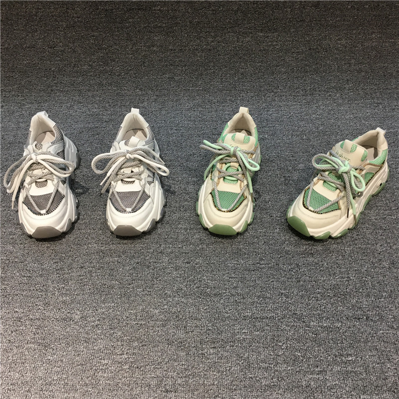 欧洲站休闲真皮女鞋2020夏款新品时尚百搭网面松糕厚底老爹运动鞋