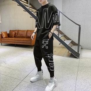 潮男帮夏季男士短袖套装韩版个性修身运动服七分袖短裤休闲两件套