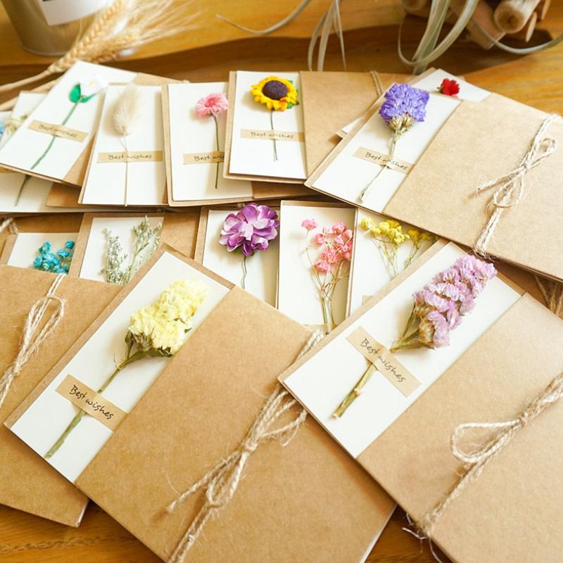 复古牛皮纸干花贺卡手工花卡片 愿你笑颜如花绽放 感谢祝福留言卡