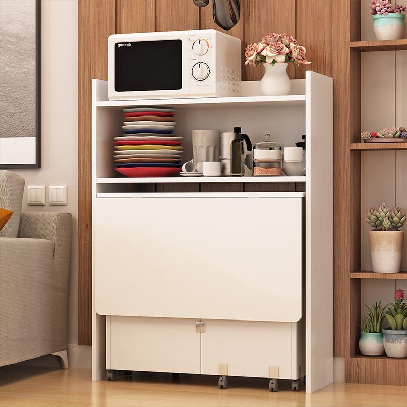 简易折叠餐桌家用小户型可移动餐桌边柜组合长方形折叠桌子吃饭桌