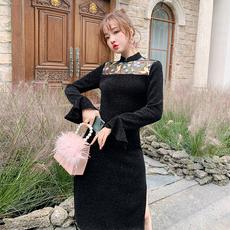 国风性感黑色旗袍2020秋冬新款刺绣时尚洋气显瘦少女改良版连衣裙