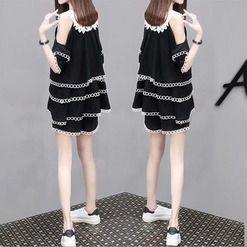 欧洲站夏季新款女装大码洋气时尚套装韩版宽松显瘦阔腿短裤两件套
