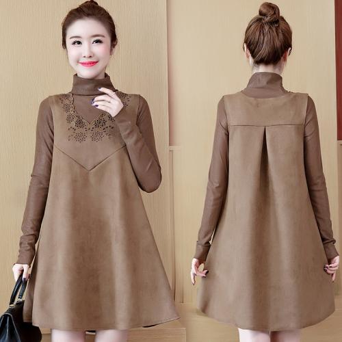 秋季女套装裙子2020新款韩版两件套大码长袖连衣裙打底衫加背心裙