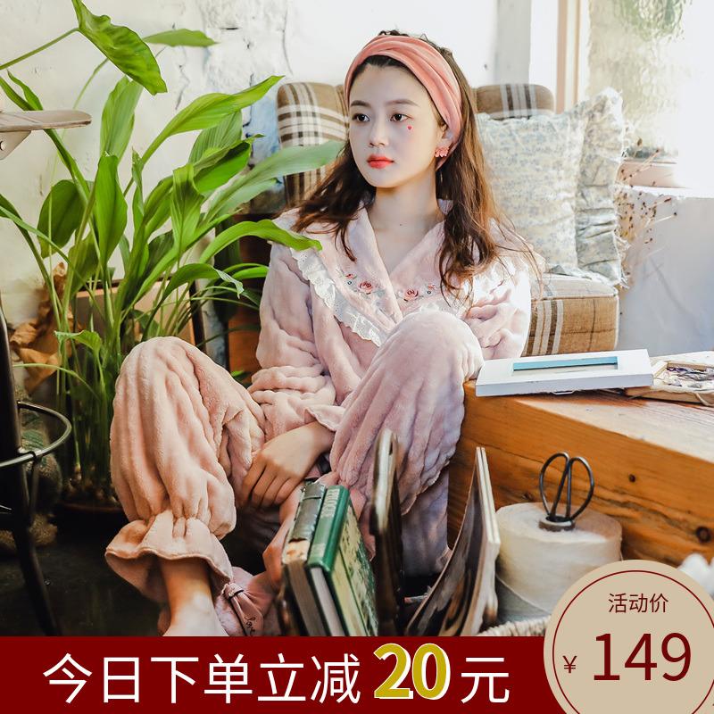 珊瑚绒加厚可爱韩版日式斜襟和服法兰绒睡衣春秋冬季女家居服套装