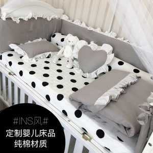 Seven-color flower baby bedding set baby bedding child bed surrounding light gray baby quilt can be customized