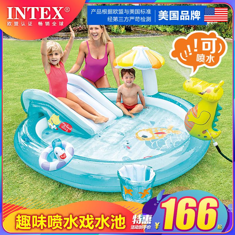 INTEX婴儿童充气游泳池家庭大号海洋球池沙池家用宝宝喷水戏水池