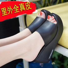 雪地意尔ys1新款真皮32高跟外穿一字女拖鞋坡跟厚底防滑女鞋