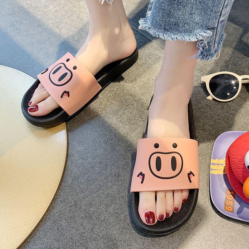 2019新款韩版可爱卡通猪凉拖鞋女夏居家室内外穿少女心防滑家用