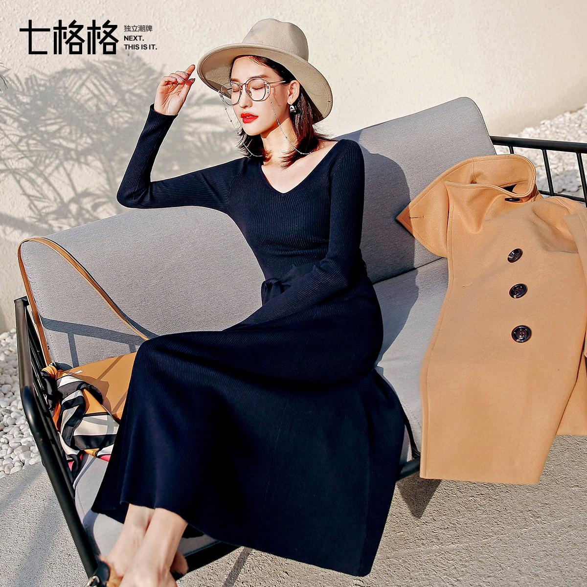 v领针织连衣裙秋装女2018新款韩版修身sukol裙少女心机裙子设计感