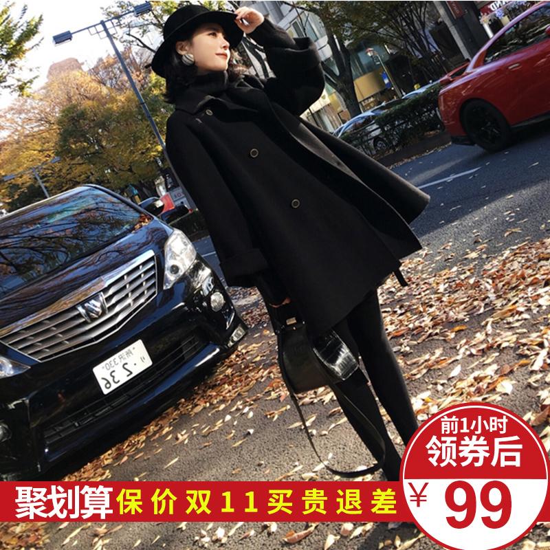 2018流行大衣秋冬季中长款新款赫本风毛呢外套女韩版呢子学生女装