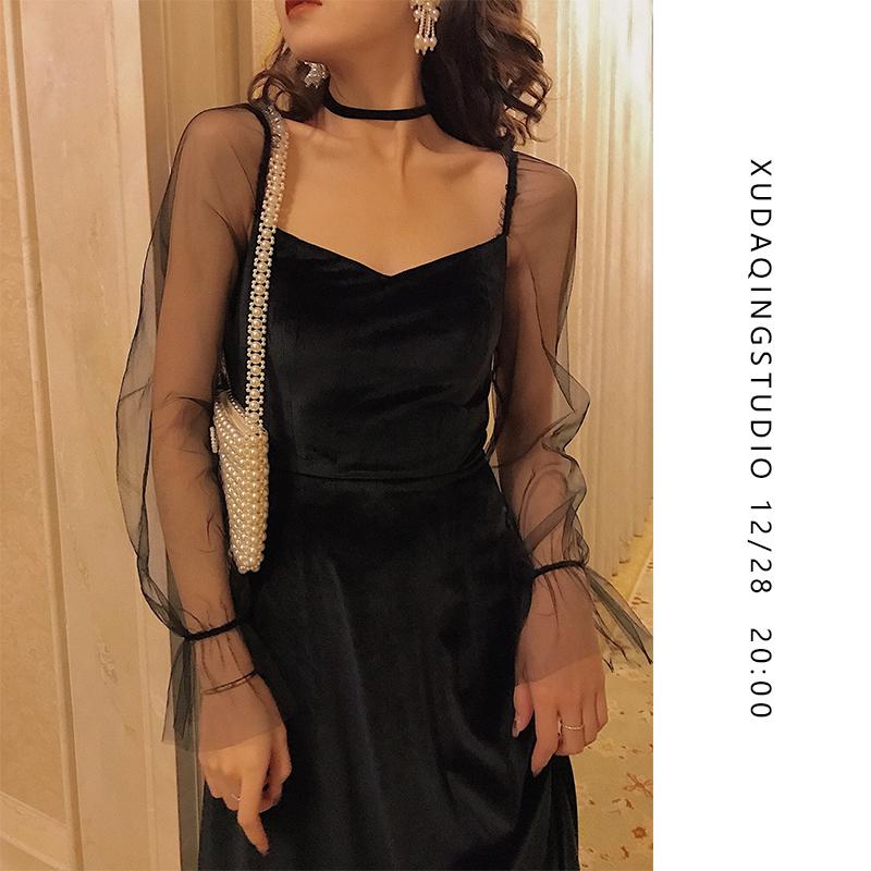 DAIQNG 性感小黑裙黑色丝绒连衣裙网纱蕾丝礼服女冬宴会年会裙
