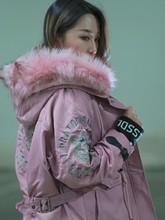 (3)派克服女id4式冬兔毛am貉子毛领外套中长式大衣可拆卸