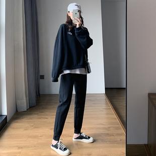 运动裤女宽松束脚2020新款秋冬季外穿显瘦哈伦裤加绒加厚休闲卫裤图片