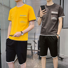 Summer men's short sleeve T-shirt suit trend Korean version handsome youth leisure sportswear student running suit