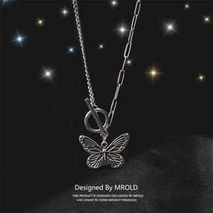 超仙少女欧美蝴蝶项链女锁骨链小众设计钛钢ins复古做旧手链吊坠图片
