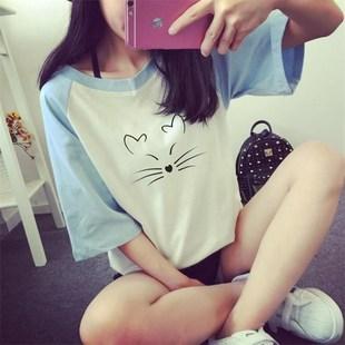 12-14-15-16岁女孩大童短袖t恤初中学生小清新夏装8新款潮上衣
