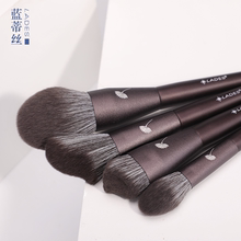 LADES/ blue is wearing 14 makeup brushes, a powder brush and an eye shadow brush.