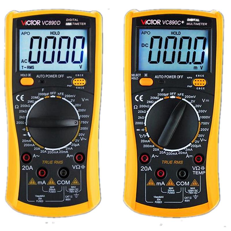 正品胜利数字万用表VC890D/890C+数显万能表高精度蜂鸣背光全保护